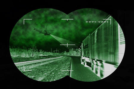 nightvision: A helicopter was used during night truck chase scene.