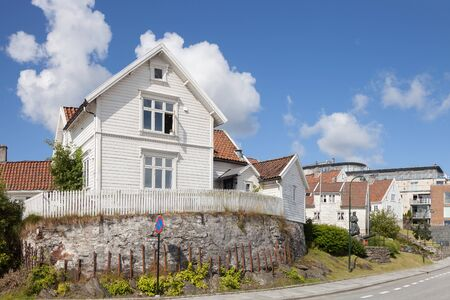 the white house: View to the traditional Norwegian white wooden houses in Stavanger, Norway.