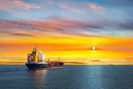 tanker ship: Tanker ship on calm sea in the morning.