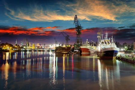 commercial building: View of the quay shipyard of Gdansk, Poland.
