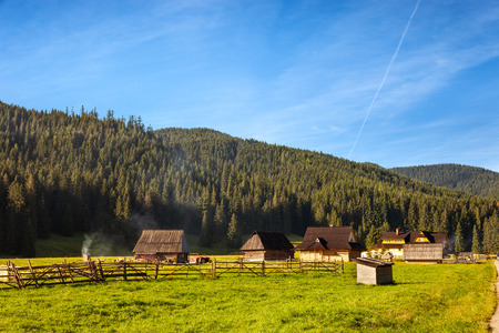 cottage: Traditional wooden hut in Tatra mountains, Poland.