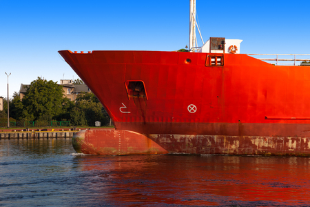 ship bow: A bow of a ship from sideway. Stock Photo