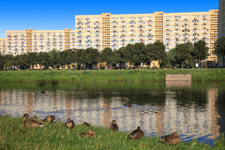 lake dwelling: Multi-story buildings - Typical socialist block in East Europe. Stock Photo