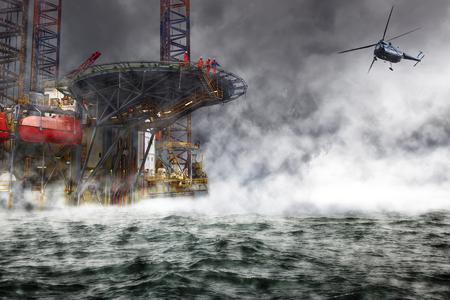 tormenta: Un rescate de aterrizaje misión helicóptero en la plataforma petrolera.