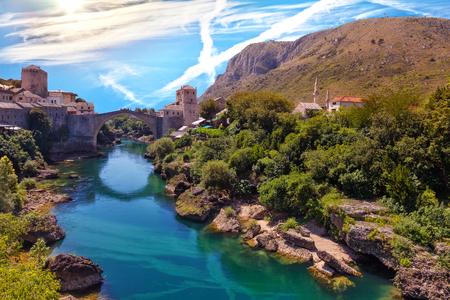 neretva: The Old Bridge in Mostar with emerald river Neretva. Bosnia and Herzegovina.