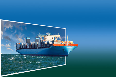 cargo: Generic container ship concept for adv or others purpose use. Stock Photo