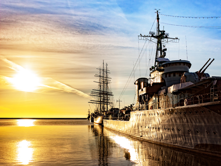destroyer: Warship at sunrise in the port of Gdynia, Poland. Editorial