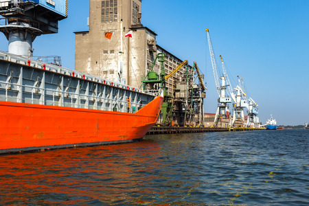 ship deck: Cargo ship moored at the quayside in the port of Gdansk, Poland. Stock Photo
