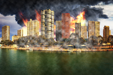 annihilation: Apocalyptic vision of the destruction of the city - Image is an artistic digital rendering. Stock Photo