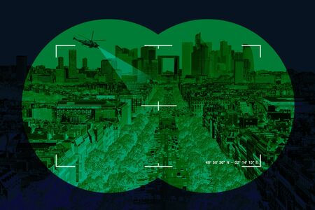 nightvision: Modern city in the crosshairs of terrorism - Conceptual photo.