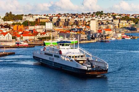 ferries: Car passenger ferry in port of Stavanger, Norway.