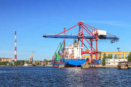 freeport: Large container ship in a dock at port of Gdansk, Poland