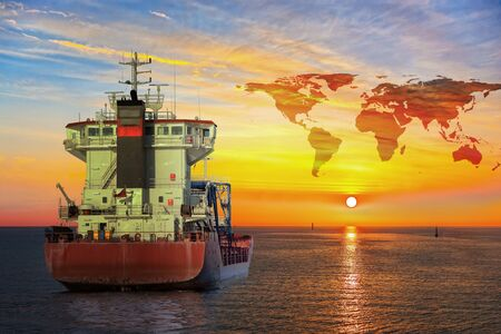 south africa: Ship on sea and World map background - shipping travel concept