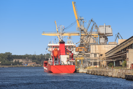 phosphate: Loading phosphate fertilizers in the port of Gdansk, Poland Stock Photo