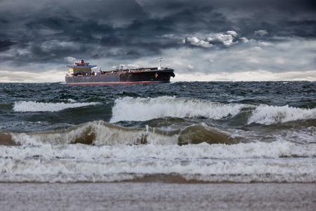 tanker ship: Tanker ship at sea during a storm.