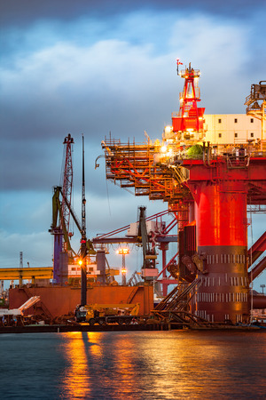 oil industry: Shipyard industry - Oil Rig under construction in Gdansk, Poland. Stock Photo