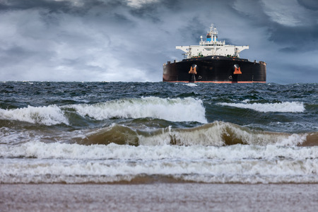 Tanker ship at sea during a storm.
