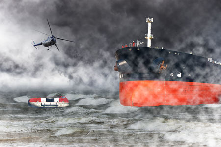 rescue: A helicopter rescue mission in difficult stormy weather at sea.