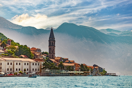 balkan: View from boat on Perast, Kotor Bay, Montenegro. Stock Photo