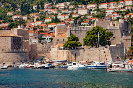 croatia dubrovnik: Old city port during sunny summer day in Dubrovnik, Croatia. Stock Photo