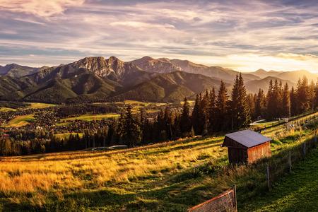 Gubalowka - view on panorama of Tatras at sunset, Poland. 写真素材