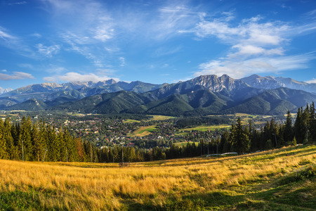 giewont: A view of The Tatra Mountains and Zakopane in summer, Poland. Stock Photo