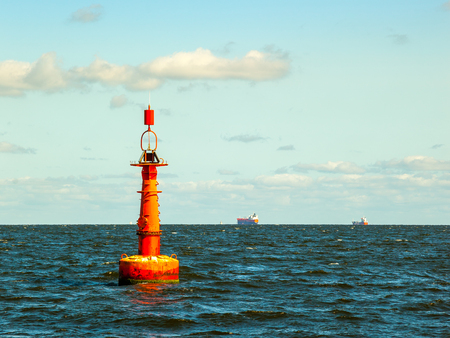 Navigation buoy at the edge of a fairway.