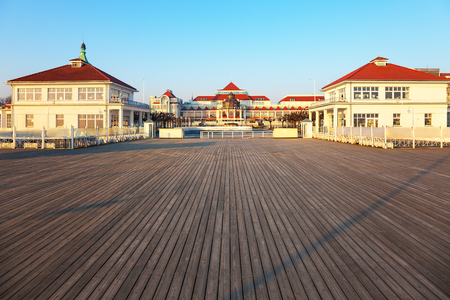 pier: View from the pier on the beautiful architecture of Sopot, Poland.
