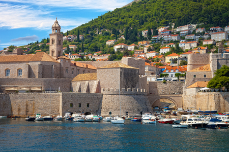 croatia: Old city port during sunny summer day in Dubrovnik, Croatia. Stock Photo
