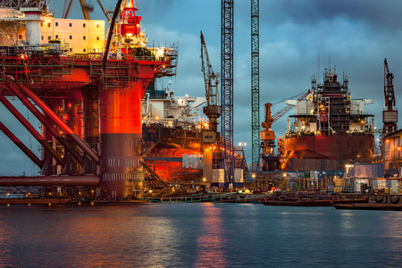 oil platforms: Shipyard industry - Oil Rig under construction in Gdansk, Poland. Stock Photo