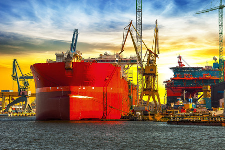 shipper: View of the quay shipyard at sunrise in Gdansk, Poland.