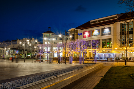 atraction: Night view of Sopot with many shops, clubs, galleries, on April 14, 2016 in Sopot, Poland. Editorial