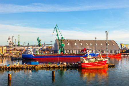 lading: View of the quay port of Gdynia, Poland.