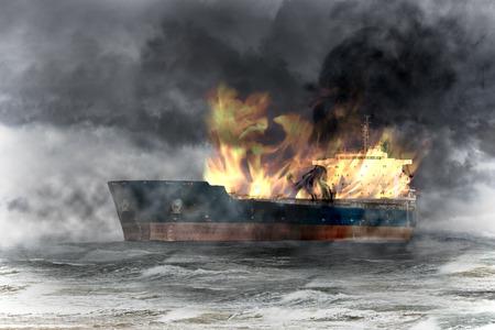 tanker ship: Burning tanker ship on sea at storm. Stock Photo