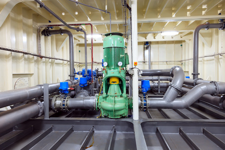 engine room: Water pump installed on drill ship - Industrial zone.