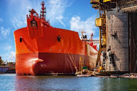 shipper: A ship under repair at shipyard in Gdansk, Poland.
