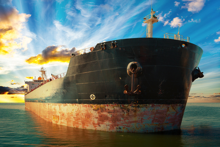 ship bow: Big ship at sunset - view from the bow. Stock Photo
