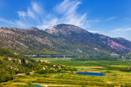 kalnik: Landscape view of Neretva river delta in Croatia. Stock Photo