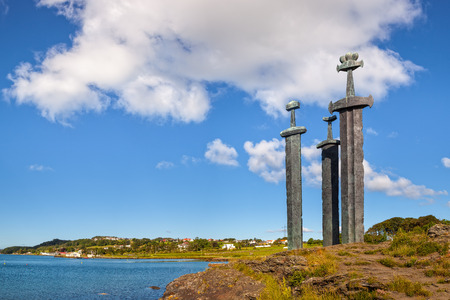 Three large swords stand on the hill as a memory to the Battle of Hafrsfjord in year 872 in Stavanger, Norway.