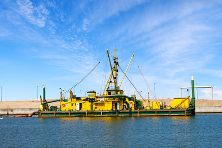 commercial docks: Construction works on the docks of the commercial port of Gdansk, Poland. Stock Photo