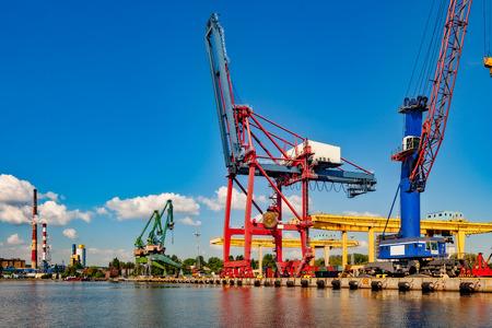 gantry: Big Gantry Cranes in port of Gdansk, Poland.