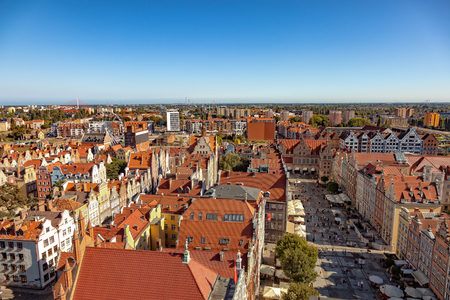 gdansk: The view from above on Old Town in Gdansk, Poland.