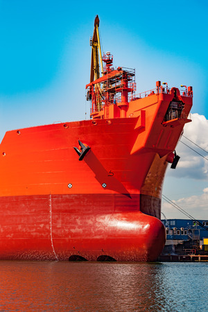 sideway: A bow of a tanker ship with anchor.