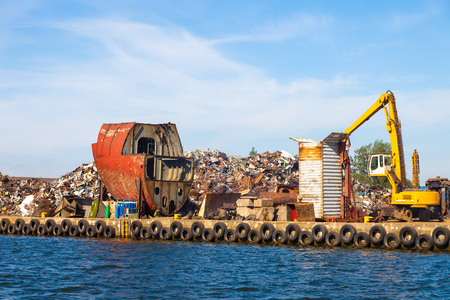 dismantling: Dismantling the ship on scrap metal ready for recycling. Stock Photo