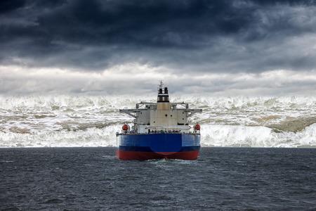 Big ship at sea during by a tsunami.