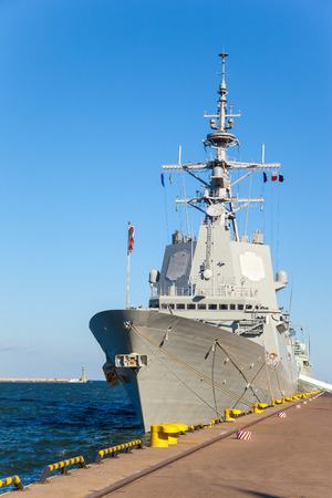 Warship in a sunny day in port of Gdynia, Poland. Stock Photo