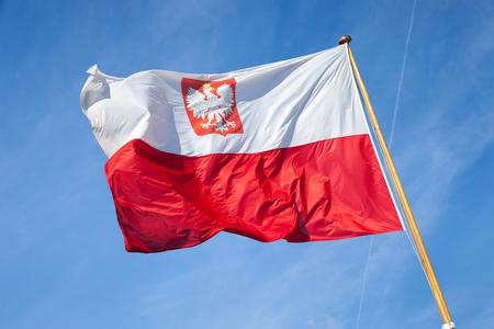 polish flag: Polish national flag in the sky.