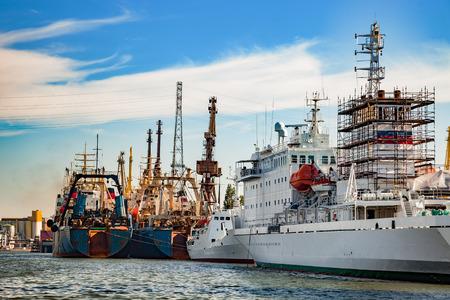 shipbuilding: A ships under repair at shipyard in Gdansk, Poland. Stock Photo