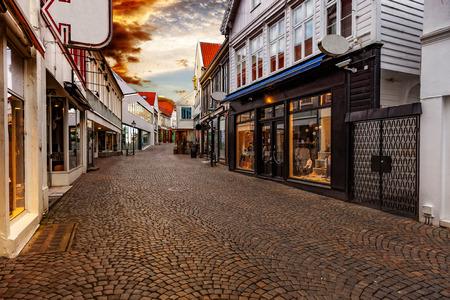 Shopping street at sunset in Stavanger, Norway. Reklamní fotografie