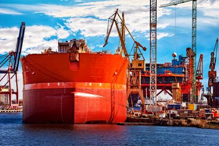 shipbuilding: A ship under repair at shipyard in Gdansk, Poland.
